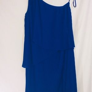 Micheal Kors Blue One shoulder dress NWT Holiday M